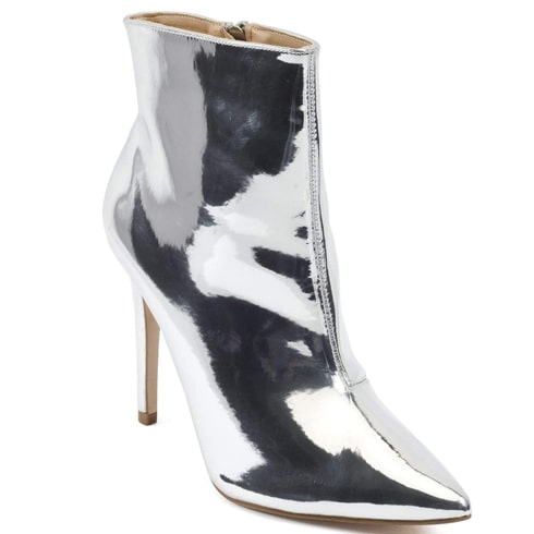 Silver Mirror Stiletto Ankle Boots