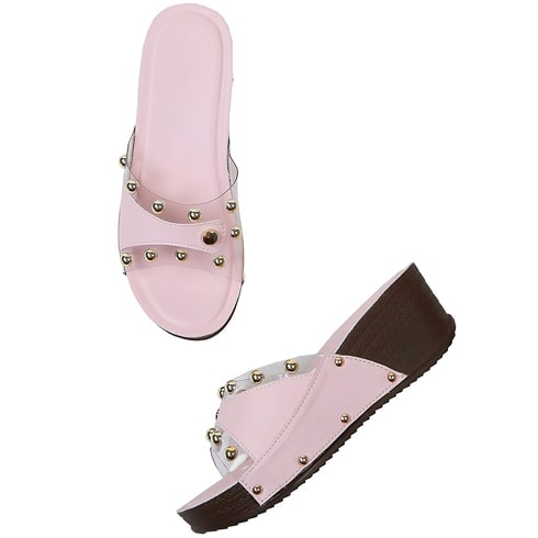 Sweet Pink Studded Wedges