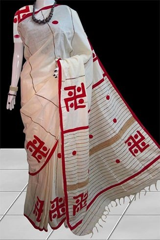 White Applique Work Saree