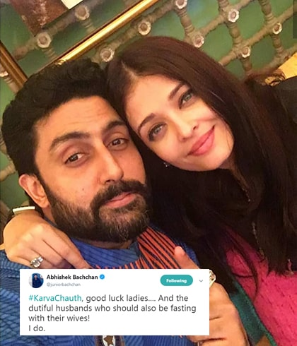 Aishwarya Rai and Abhishek Bachchan Celebrated Karwa Chauth