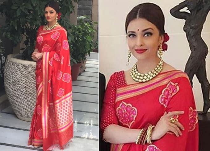Aishwarya Rai Bachchan Red Sari