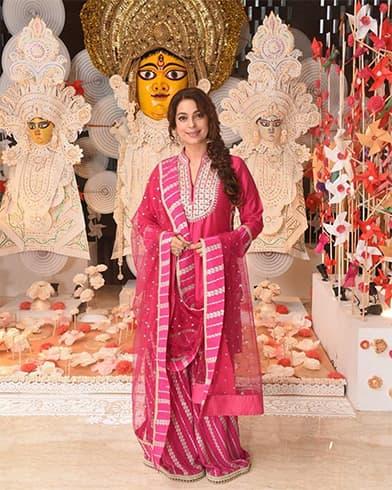 Juhi Chawla at Durga Puja