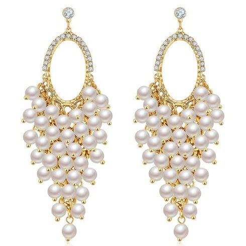 Pearl Studded Gold Plated Long Earrings