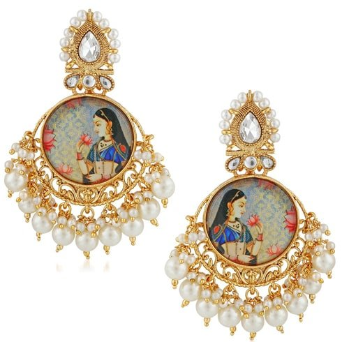 Royal Motif Gold Jhumka Earrings