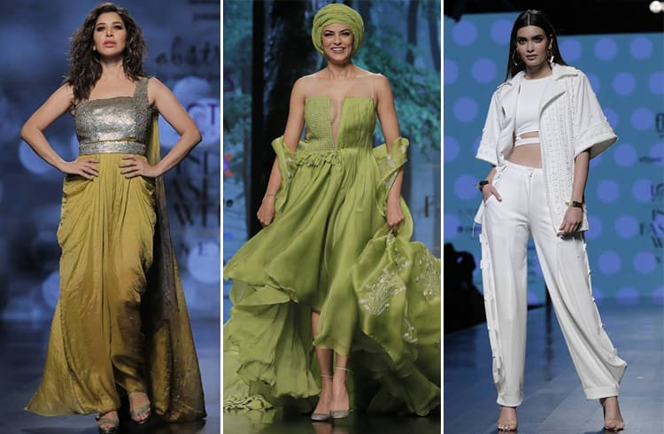 Sophie Choudry Sushmita Sen and Diana Penty LMIFW SS19