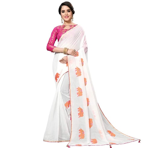Chanderi Designer Embroidery Saree