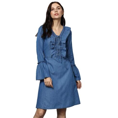Denim Drawstring Bell Sleeves Dress