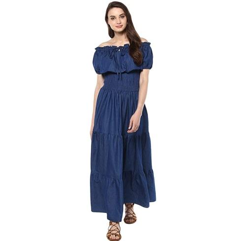 Off-Shoulder Denim Dress