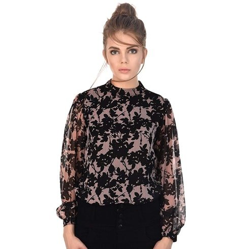 Black and Pink Floral Turtleneck Top