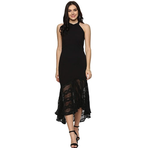 Black Halter Neck Asymmetrical Lace Dress