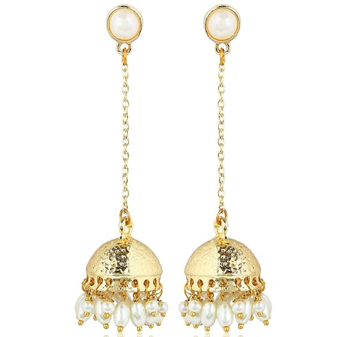 Long Drop Chain Dangler Pearl Jhumkas