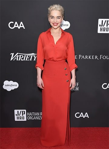 Emilia Clarke in Red Dress