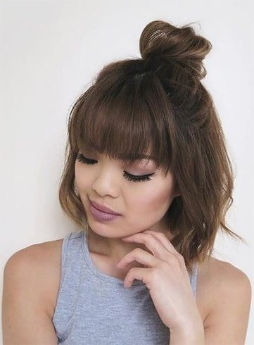 Feathered Bangs With Bun