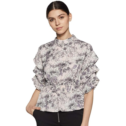 Grey Floral Top With Layered Sleeve