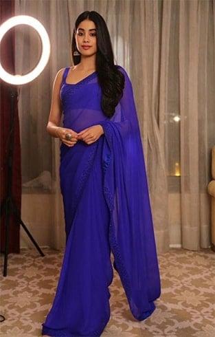 Janhvi Kapoor Blue Saree