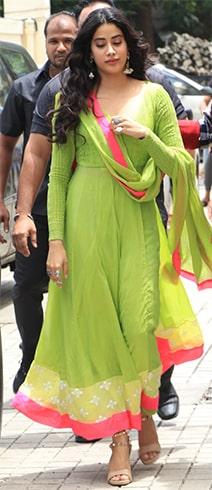 Janhvi Kapoor in Green Anarkali