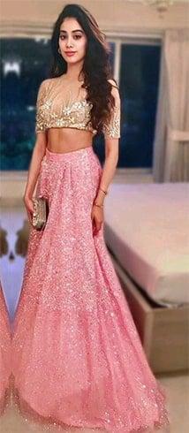 Janhvi Kapoor in Pink Lehenga