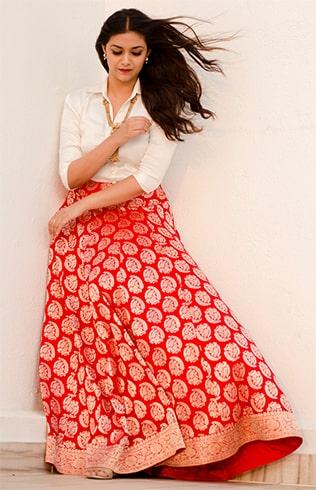 Keerthy Suresh Benarasi skirt