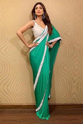Shilpa Shetty in Green Saree