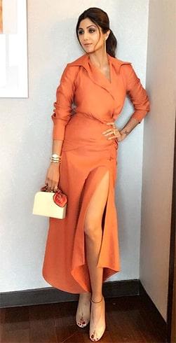 Shilpa Shetty in Orange dress