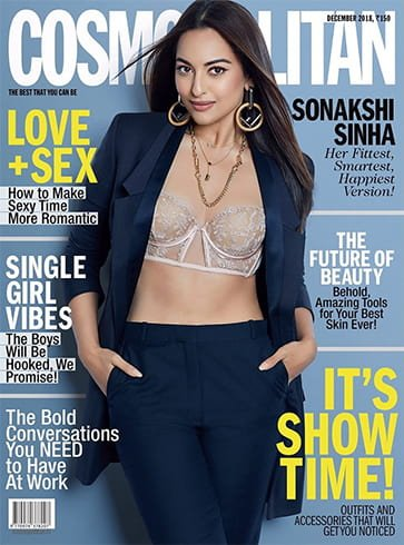 Sonakshi Sinha on Cosmopolitan December 2018