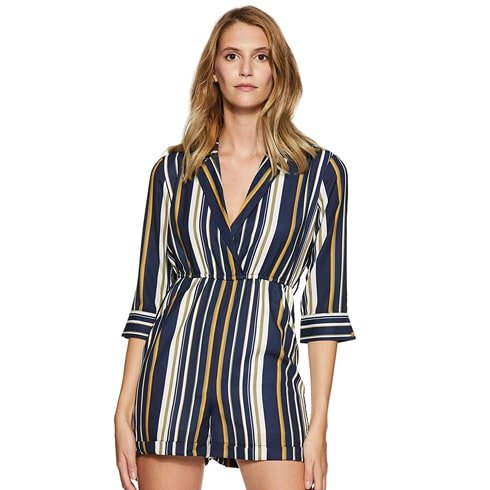 Stalk Buy Love Crepe Striped Knotted Playsuit