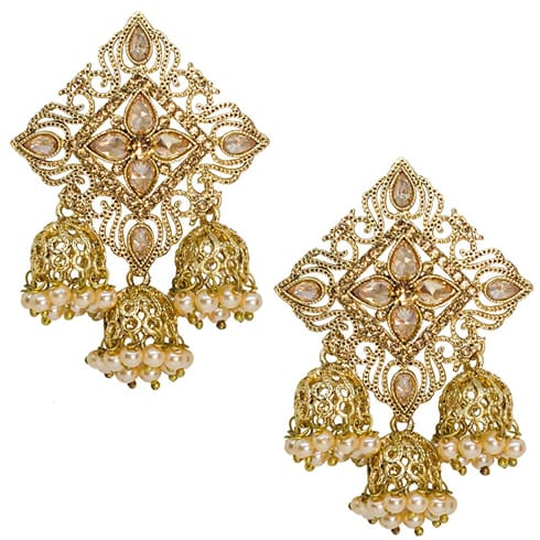 White and Gold Jhumkas