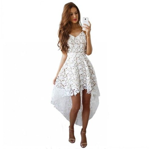 White Floral Strappy Lace Dress