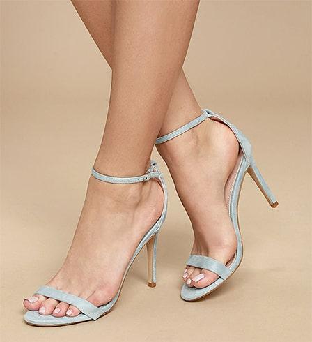Agusta Aqua Suede Ankle Strap Heels