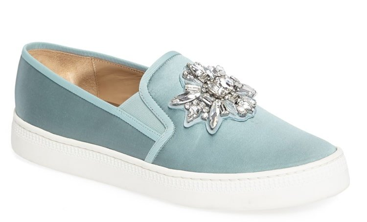 arre Satin Embellished Slip-On Sneakers from Badgley Mischka