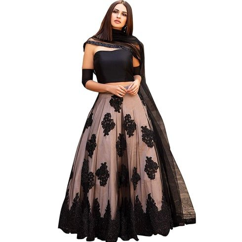 Black And Peach Designer Lehenga