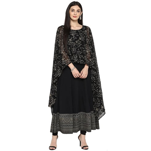 Black Printed Cape Kurta
