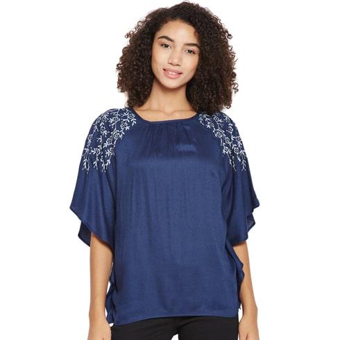 Blue Batwing Kimono Sleeve Top