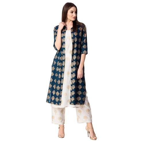 Blue Jacket Kurta With Palazzo Set