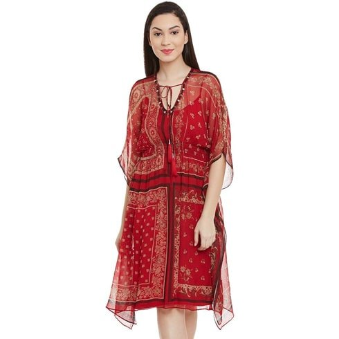 Burgundy Kaftan Dress