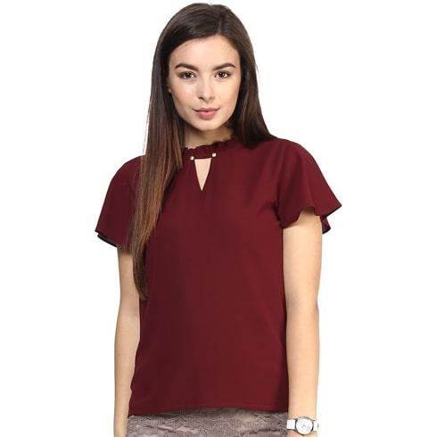 Burgundy Kimono Sleeve Choker Top
