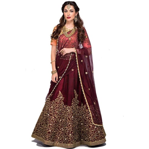 Deep Wine With Golden Embroidery Lehenga
