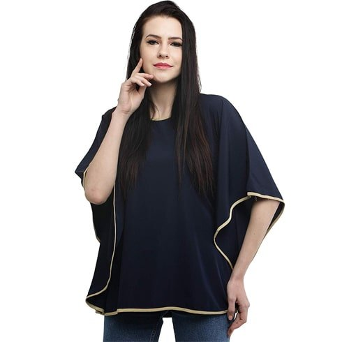 Elegant Solid Blue Kaftan Top
