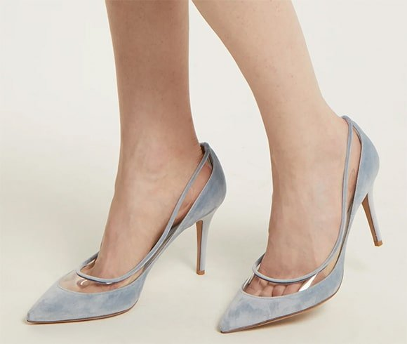 Glassglow velvet and plexi pumps from Valentino