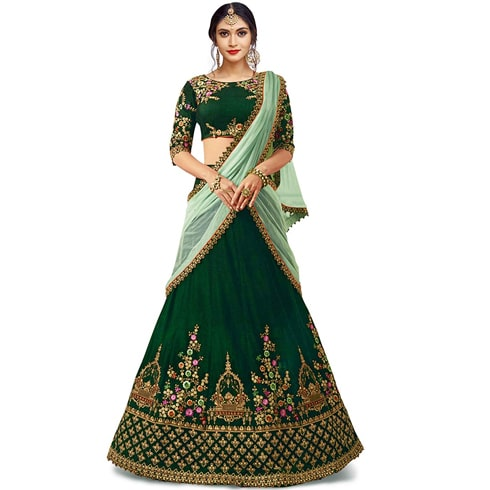 Green Lehenga With Contrast Sea Green Dupatta