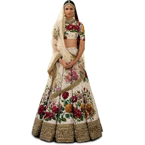 Ivory And Floral Lehenga