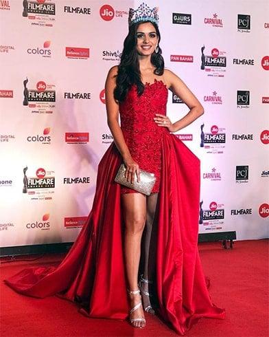 Manushi Chhillar Sonaakshi Raaj red gown
