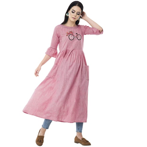 Pink Kurta With Cycle Embroidery