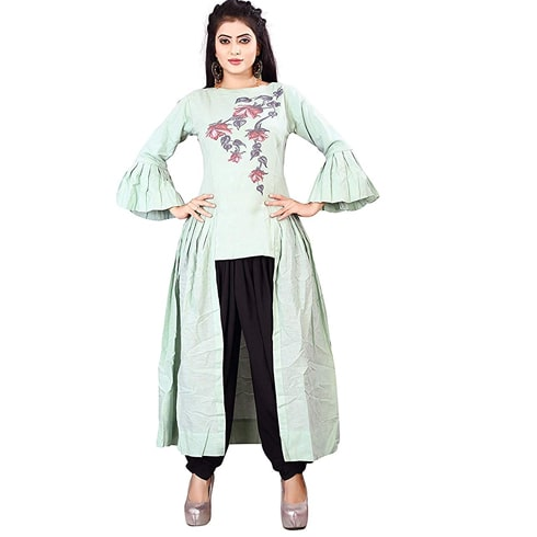 Seagreen Cotton Up Down Kurta