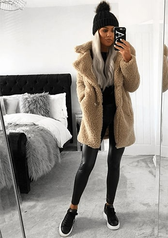 Skinny Pants With Longline Teddy Coats