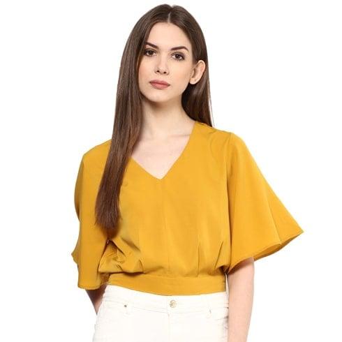 Yellow Kimono Sleeve Crop Top