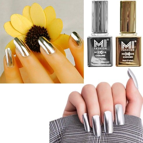 Metallic Golden And Silver Nail Paint