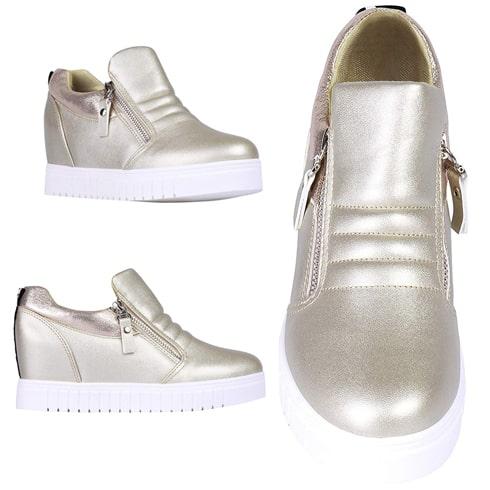 Metallic Zipper Platform Shoes