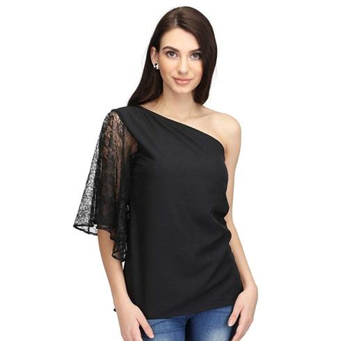 Black Lace One Shoulder Top
