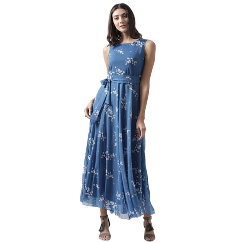 Blue Printed Waist Tie Up Maxi Dress